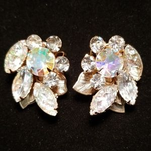 Vintage JUDY LEE Rhinestone Crystal Clip Earrings